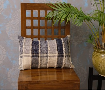 "Cream Navy Heavy Weave Lurex Cushion Cover (12""x18"")"