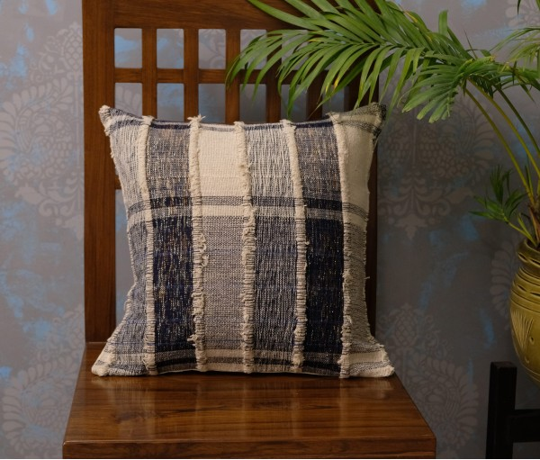 "CREAM NAVY HEAVY WEAVE LUREX CUSHION COVER (16""X16"")"