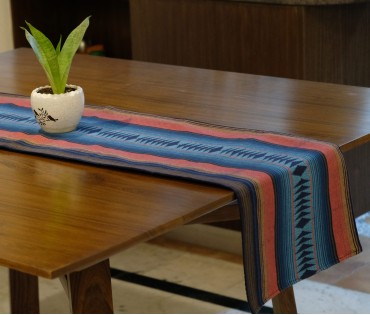 NAVY PINK HEAVY WEAVE TABLE RUNNER