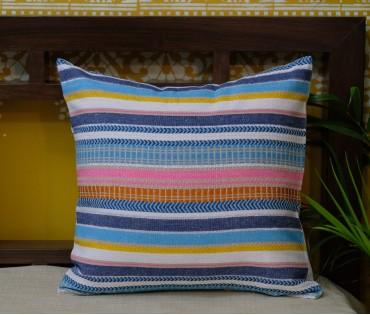 "Multi Stripe Silver Lurex Cushion Cover (16""x16"")"