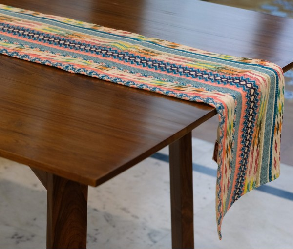 WHITE WITH NEON & MULTI COLOR STRIPE TABLE RUNNER
