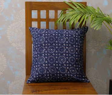 "Ajrakh Navy Cotton Cushion Cover (16""x16"")"