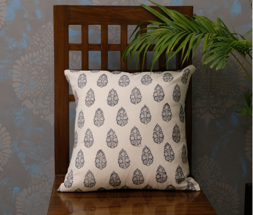 "HAND BLOCK COTTON CUSHION COVER (16""X16"")"