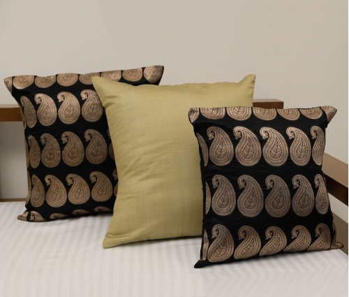 Black Brocade Cushion Cover (set Of 3) (50x50 Cm)