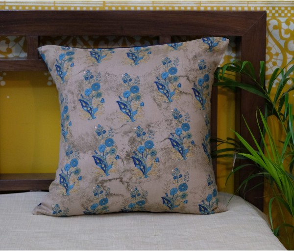 "MULTI FLORAL COTTON CUSHION COVER (16""x16"")"