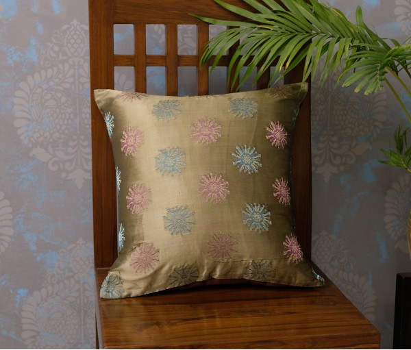 "OLIVE POLYESTER JACQUARD CUSHION COVER (16""X16"") (Set of 5)"