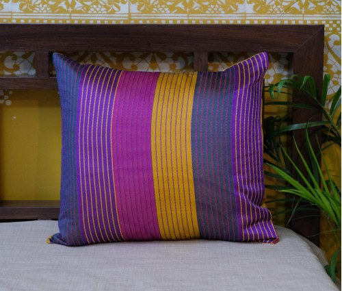 "MULTI COLOR STRIPE CHANDERI CUSHION COVER (16""X16"")"
