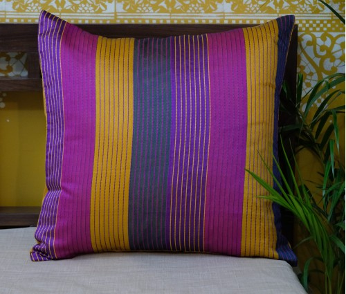 "MULTI COLOR STRIPE CHANDERI CUSHION COVER (20""X20"")"