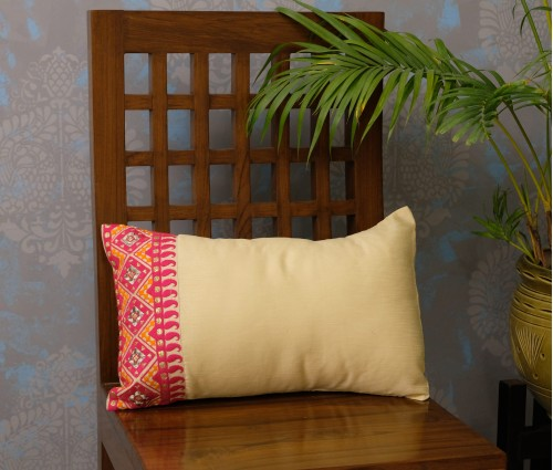 "SET OF 2 CREAM & FUCHSIA VERTICAL EMB CUSHION COVER (12""X18"")"