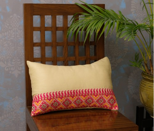 "SET OF 2 CREAM & FUCHSIA HORIZONTAL EMB CUSHION COVER (12""X18"")"