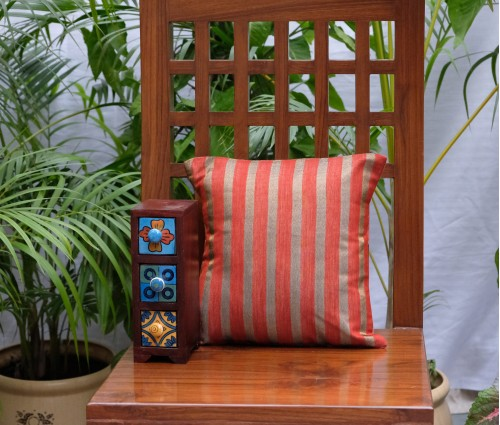 "BROWN HANDLOOM STRIPE CUSHION COVER (SET OF 2) (12""X12"")"