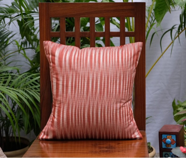 "Brown Ikat ( Katki) Cushion Cover (16""x16"")"