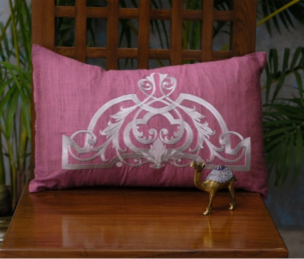 "PINK & GREY CROWN EMB CUSHION COVER SET OF 5 (12""x18"")"