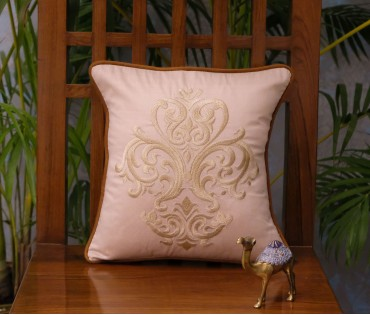 """NATURAL EMBROIDERED DAMASK CUSHION COVER (12""""x12"""")"""