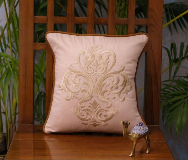 "NATURAL EMBROIDERED DAMASK CUSHION COVER (12""x12"")"