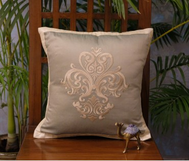 Olive Embroidered Damask Cushion Cover (40x40cm)