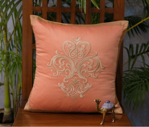 PEACH EMBROIDERED DAMASK CUSHION COVER (40x40cm)