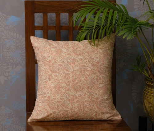 "FLORAL COTTON CUSHION COVER (16""X16"")"