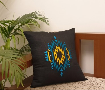 "BLACK HEXAGAN EMB CUSHION COVER (16""X16"")"