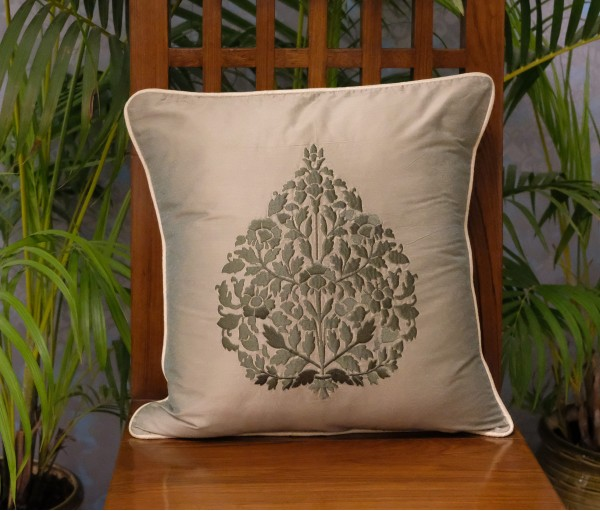 "SINGLE OLIVE BETEL LEAF CUSHION COVER (16""X16"")"
