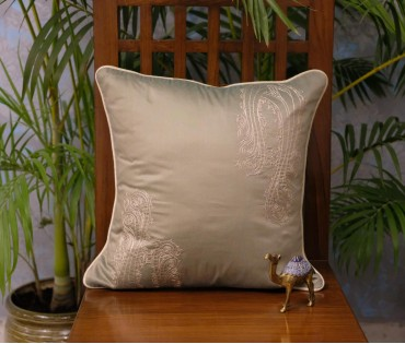 "Olive Drop Paisley Emb Cushion Cover (16""x16"")"