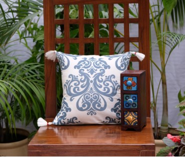 "DAMASK COTTON CUSHION COVER (12""X12"")"