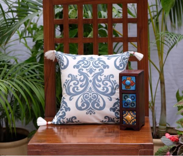 "Damask Cotton Cushion Cover (12""x12"")"
