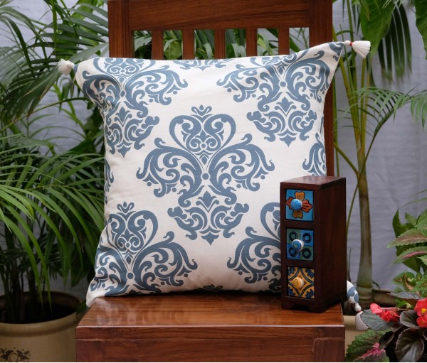 "DAMASK COTTON CUSHION COVER (20""X20"")"