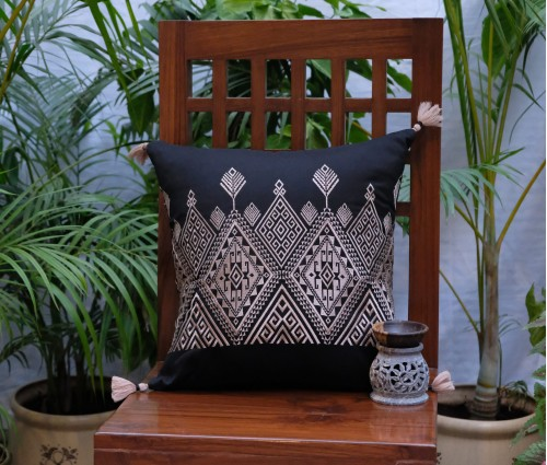 "BLACK BEIGE EMBROIDERED CUSHION COVER (16""x16"")"
