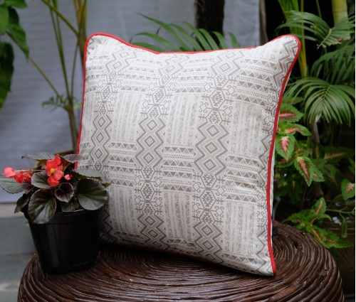 "DISTRESS ASHKAL COTTON CUSHION COVER (16""X16"")"