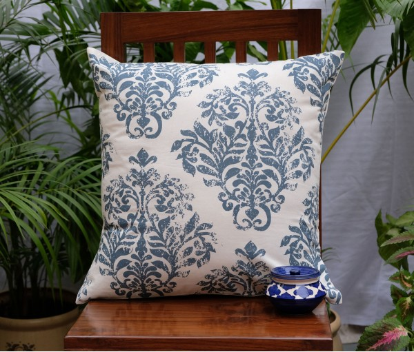 "DISTRESS DAMASK COTTON CUSHION COVER (20""X20"")"