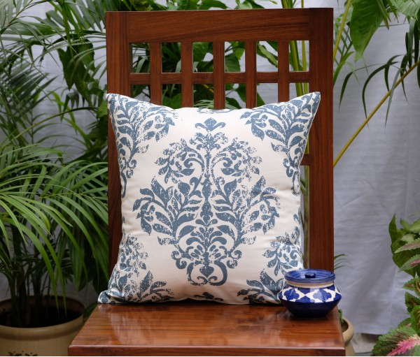 "DISTRESS DAMASK COTTON CUSHION COVER (16""X16"")"