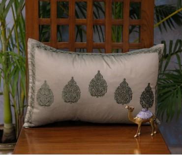 "Olive Betel Leaf Cushion Cover (12""x18"")"