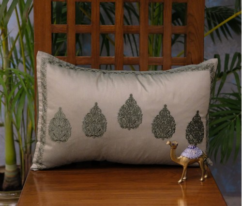 "Olive Betel Leaf Cushion Cover (12""x18"")"