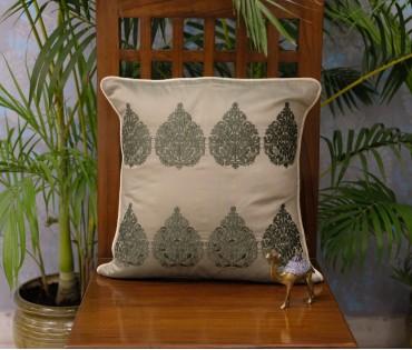 Olive Betel Leaf Cushion Cover (40x40cm)