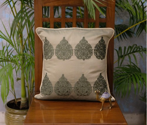 OLIVE BETEL LEAF CUSHION COVER (40x40cm)