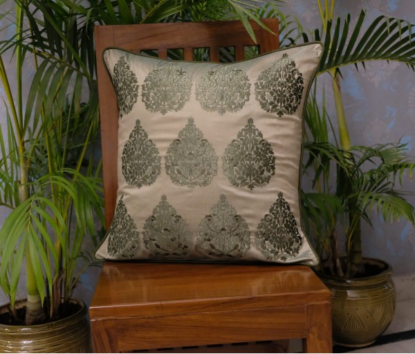 "OLIVE BETEL LEAF CUSHION COVER (20""X20"")"