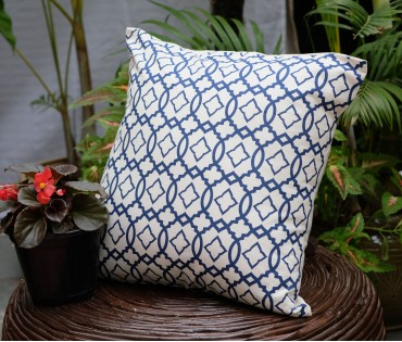"Moroccan Navy Cotton Cushion Cover (16""x16"")"