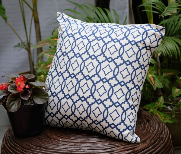 """Moroccan Navy Cotton Cushion Cover (16""""x16"""")"""