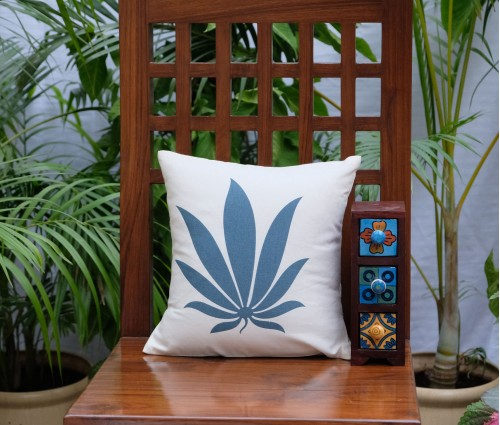 "Blue Tropical Leaf Cotton Cushion Cover (12""x12"")"