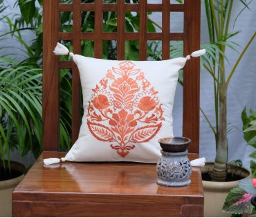 "Rajwarah Orange Emb Cotton Cushion Cover (12""x12"")"