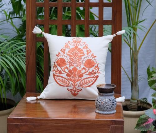 "Rajwarah Orange Emb Cotton Cushion Cover (12""x12"")"