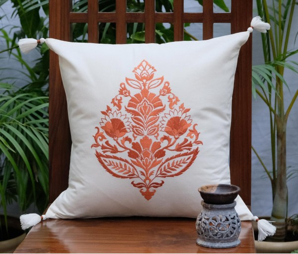 "Rajwarah Orange Emb Cotton Cushion Cover (16""x16"")"