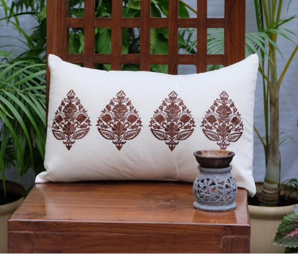 "BROWN MULTI EMB CUSHION COVER (12""X18"")"