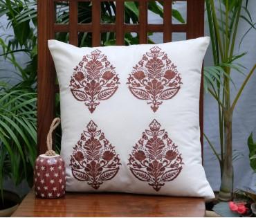 "Brown Multi Emb Cushion Cover (16""x16"")"