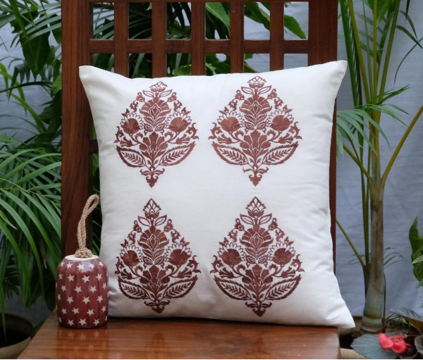 "Brown Multi Emb Cushion Cover (16""x16"")"