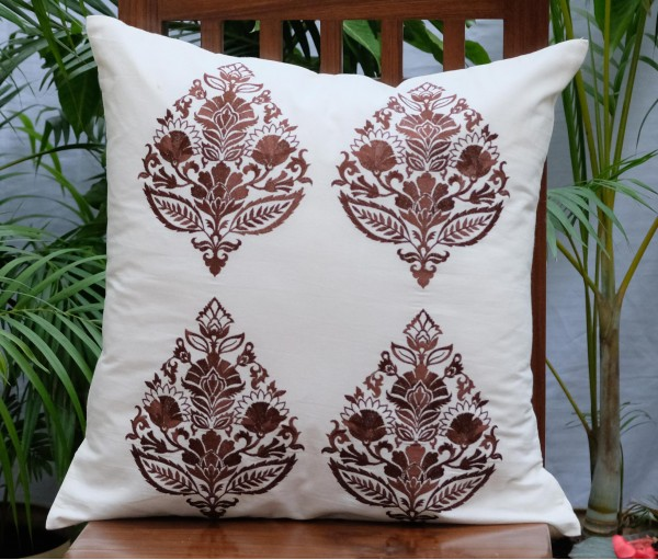 "Brown Multi Emb Cushion Cover (20""x20"")"