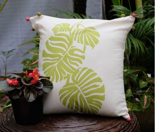 "Tropical Leaf Cotton Cushion Cover (16""x16"")"