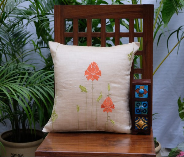 NATURAL SILK ZEHRAT EMB CUSHION COVER (40X40cm)