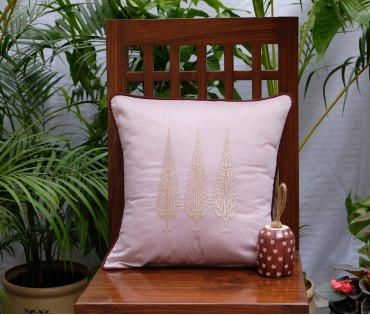 "Ashok Tree Embroidered Cushion Cover (12""x12"")"
